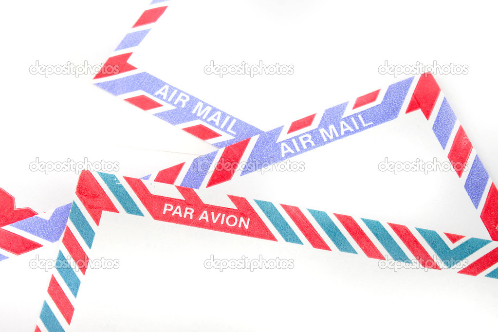 Close up of striped Air Mail envelopes in English and in French — Stock Photo #1971043