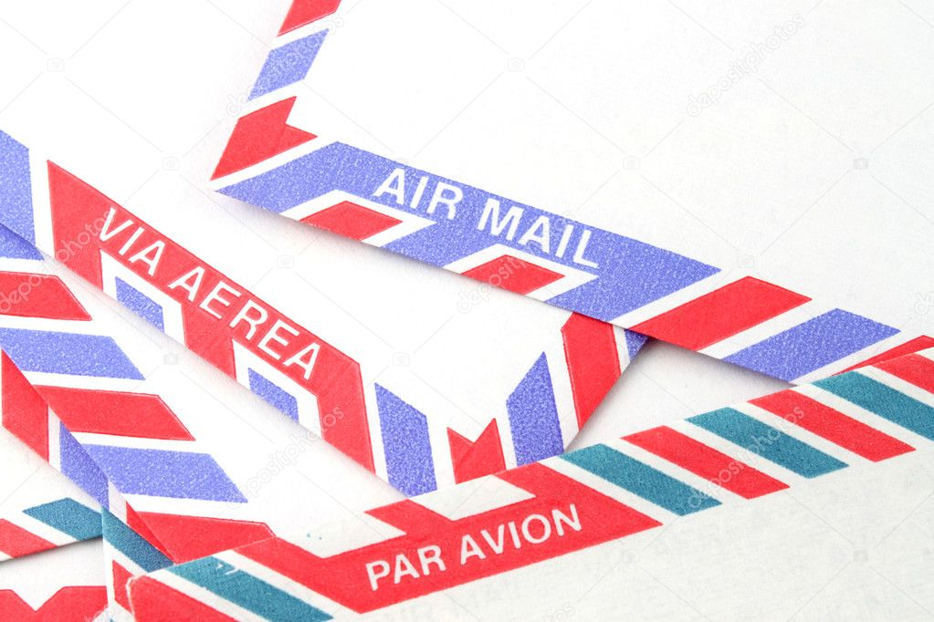 Close up of striped Air Mail envelopes  in different languages in red and blue — Stock Photo #1971168