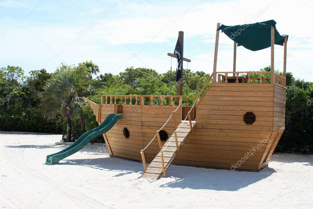 Pirate boat slide playground stock photo gvictoria - Pirate ship wooden playground ...