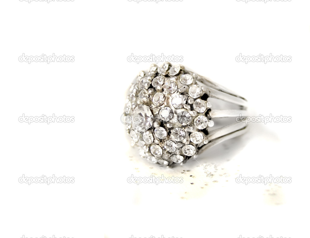 Beautiful multi diamond sparkling ring on a white background  Stock Photo #1976601