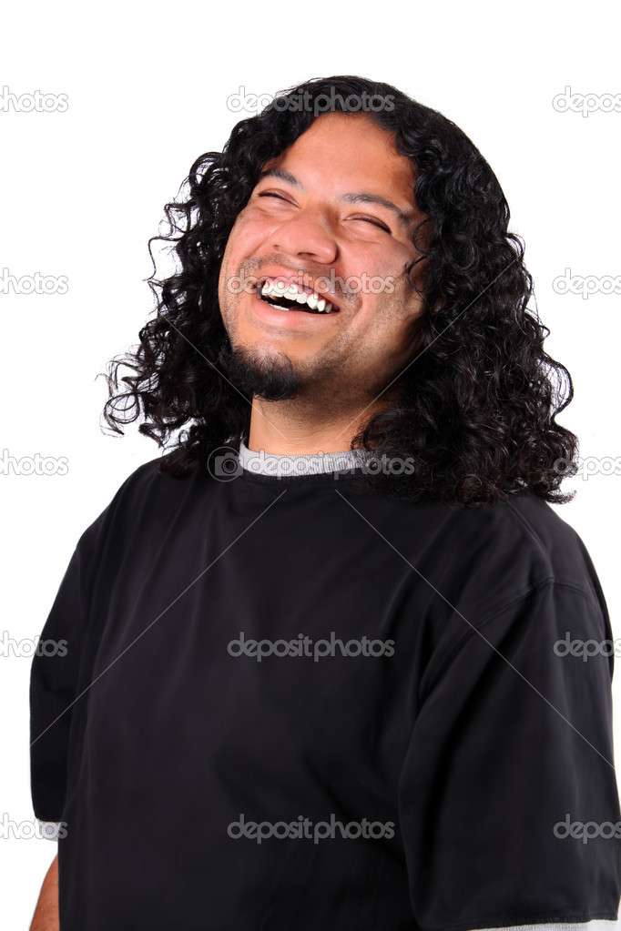 Multi-racial male with bright white teeth smile and long curly hair on a white background — Stock Photo #1976951