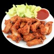 Chicken wings and dip — Stock Photo