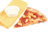 Pepperoni pizza with pineapple — Stock Photo