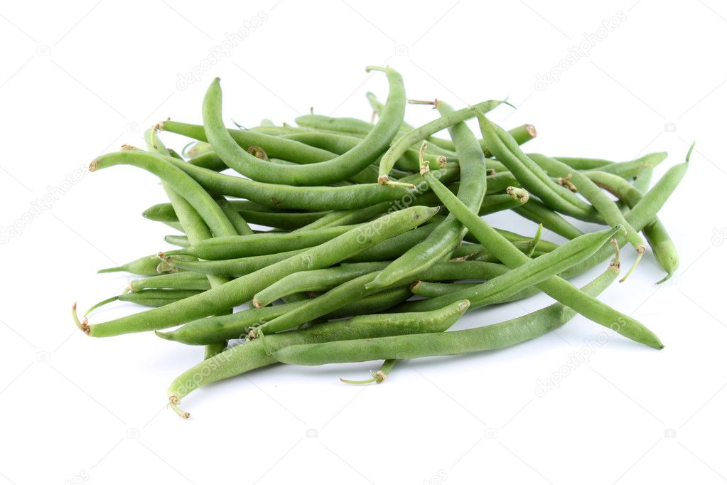 Healthy and organic green string beans on a white background (not isolated) — Stock fotografie #2036114