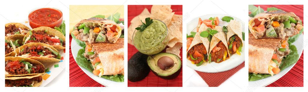 Different images of various Mexican food dishes like burritos, tacos,nachos,guacamole, and fajitas — Stock Photo #2036284