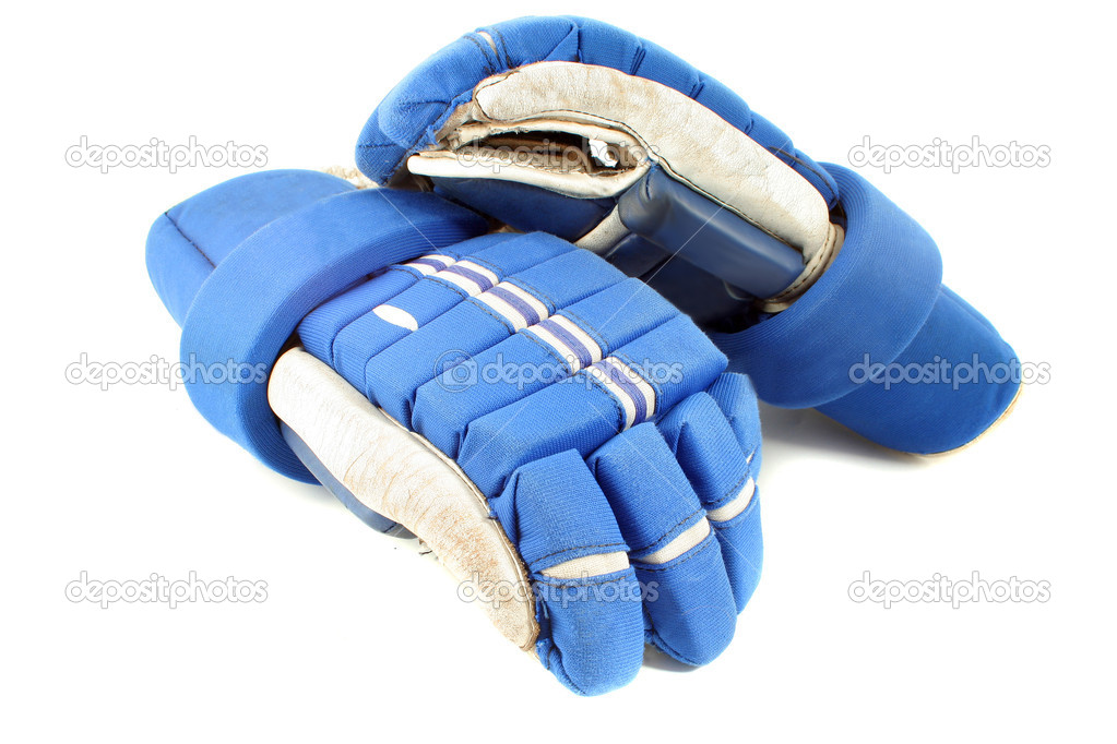 Professional protective hockey gloves protecting hands and fingers on a white background  Stock Photo #2289512