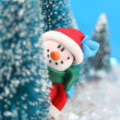 Stock Photo: Hiding Snowman