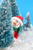 Hiding Snowman — Stock Photo