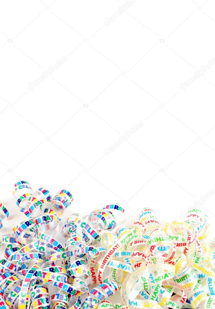 生日快乐多彩丝带边框或背景
