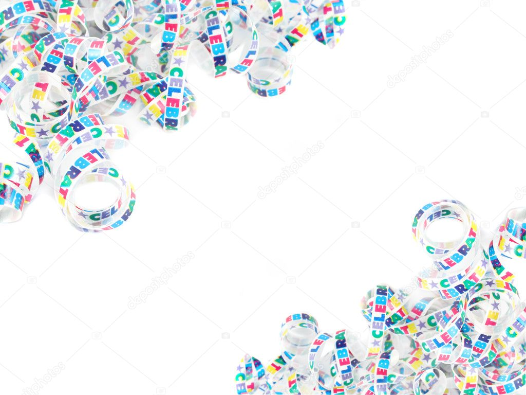 Colorful celebration ribbon frame or border on a white background — Photo #2291599
