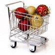 Christmas tree ornament in shopping cart — Stock Photo #1230750