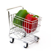 Pepper in shopping cart — Stock Photo
