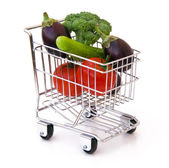 Vegetables in shopping cart — Stock Photo