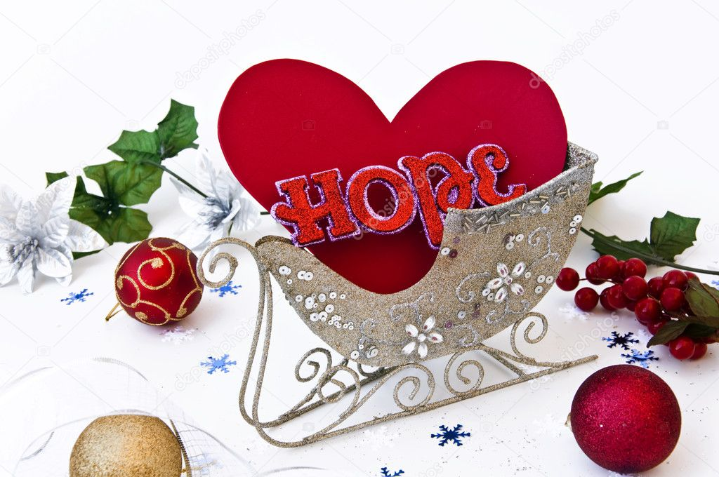 Heart and hope in sledge — Stock Photo #1248111