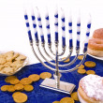 Hanukkah menorah, donuts and coins — Stock Photo