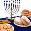Hanukkah menorah, donuts and coins — Stock fotografie