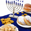 Hanukkah menorah,  donuts and coins — 图库照片