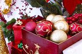 Christmas tree ornaments in the box — Stockfoto