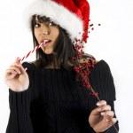 Teen Girl Santa — Stock Photo