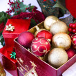Christmas tree ornaments in the box — Stock Photo