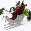 Christmas decoration in sledge — Stock Photo
