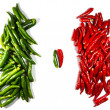 Opposition of two heaps of chili papers — Stock Photo