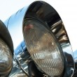 Chromed motorcycle headlights — Stock Photo