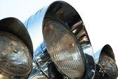 Chromed motorcycle headlights — Foto Stock