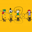 Vector de stock : Kids playing games