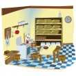 Kitchen interior scene - Stock Vector