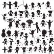 Vector de stock : Happy children silhouettes