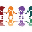 Vector de stock : Happy children in many colors