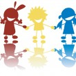 Vector de stock : Happy little children holding hands in c