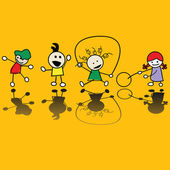 Kids playing games — Vector de stock