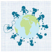 Děti a globe ilustrace — Stock vektor