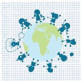 Kinderen en globe illustratie — Stockvector
