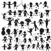 Happy children silhouettes — Stok Vektör
