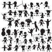 Siluetas de niños felices — Vector de stock