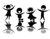 παιδιά σιλουέτα σε μαύρο και άσπρο — Διανυσματικό Αρχείο