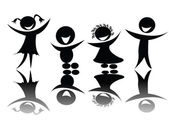 Kids silhouette in black and white — Vector de stock
