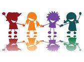 Niños felices en muchos colores — Vector de stock