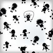 παράθεση με μοτίβο χαρούμενα παιδιά — Διανυσματικό Αρχείο