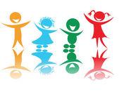 ευτυχισμένα παιδιά σε χρώματα — Διανυσματικό Αρχείο