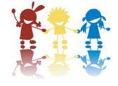 Gelukkige kleine kinderen hand in hand in c — Stockvector