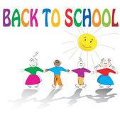School kids and sun illustration — Stock Vector