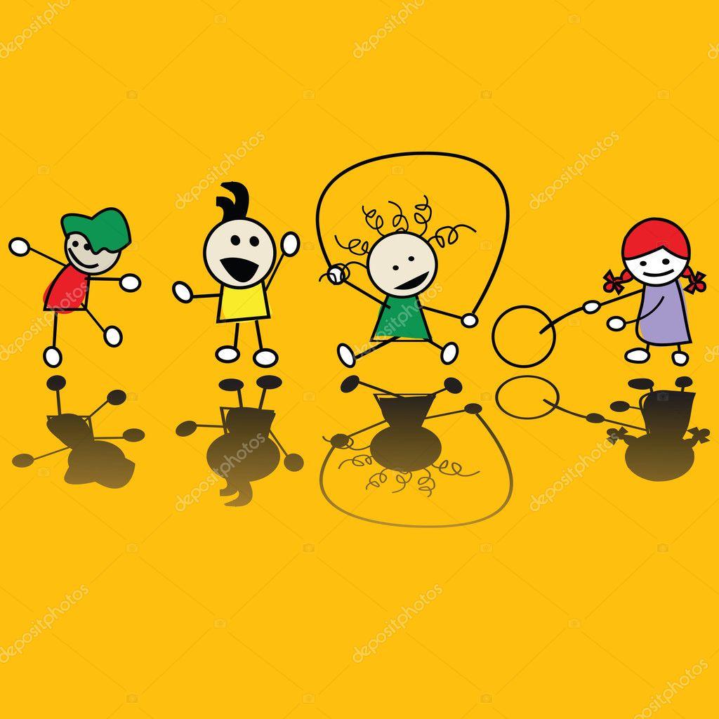 Kids playing games - Stock Illustration
