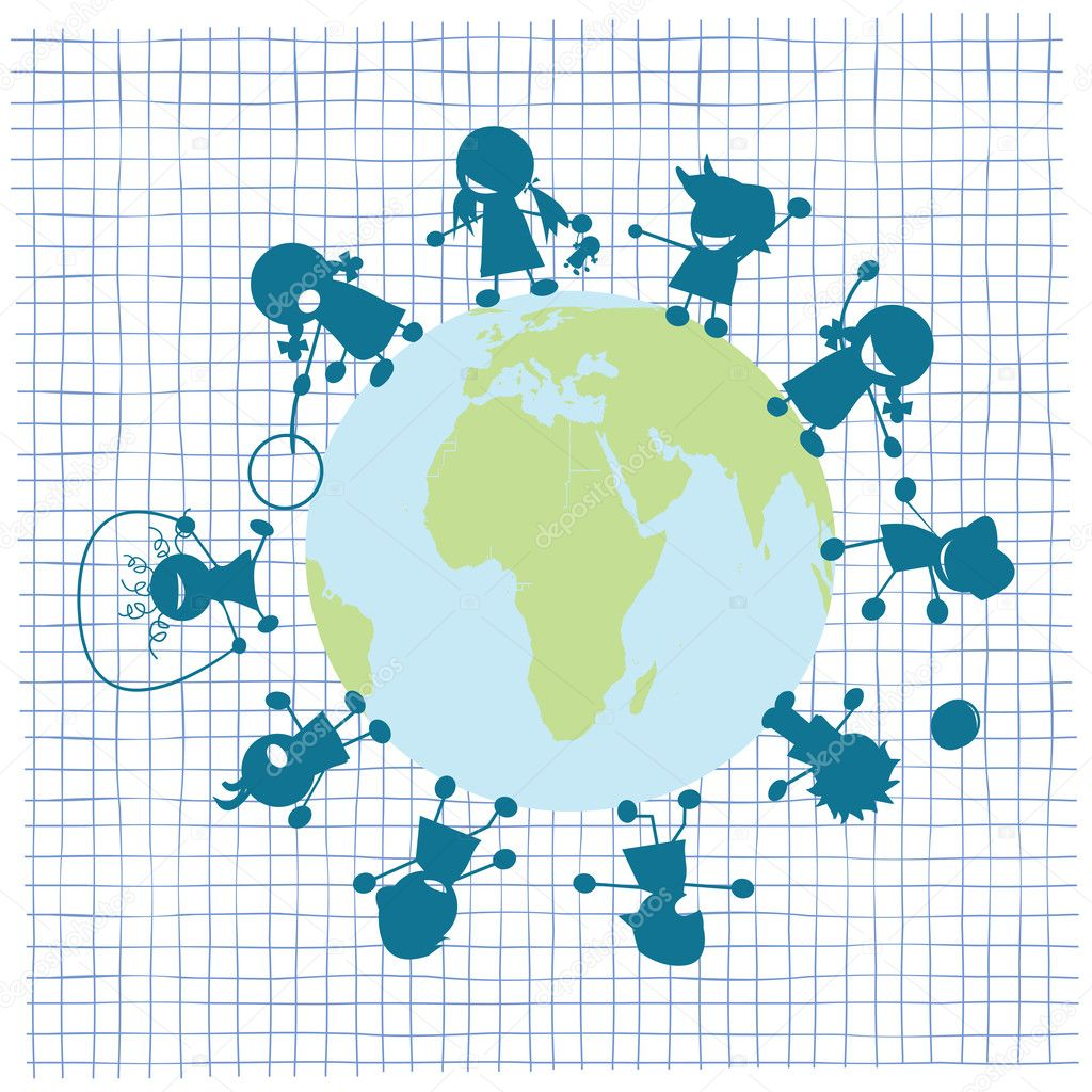 Children and globe illustration, vector art  — Stock Vector #1234671