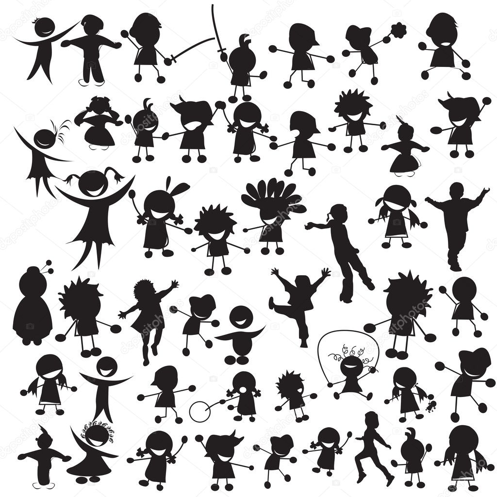 Stylized silhouettes of happy children — Stock Vector #1235026