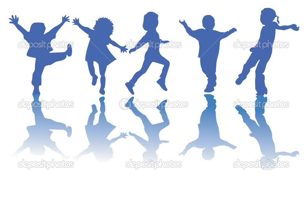 Happy children silhouettes on white background — Stock Vector #1235326