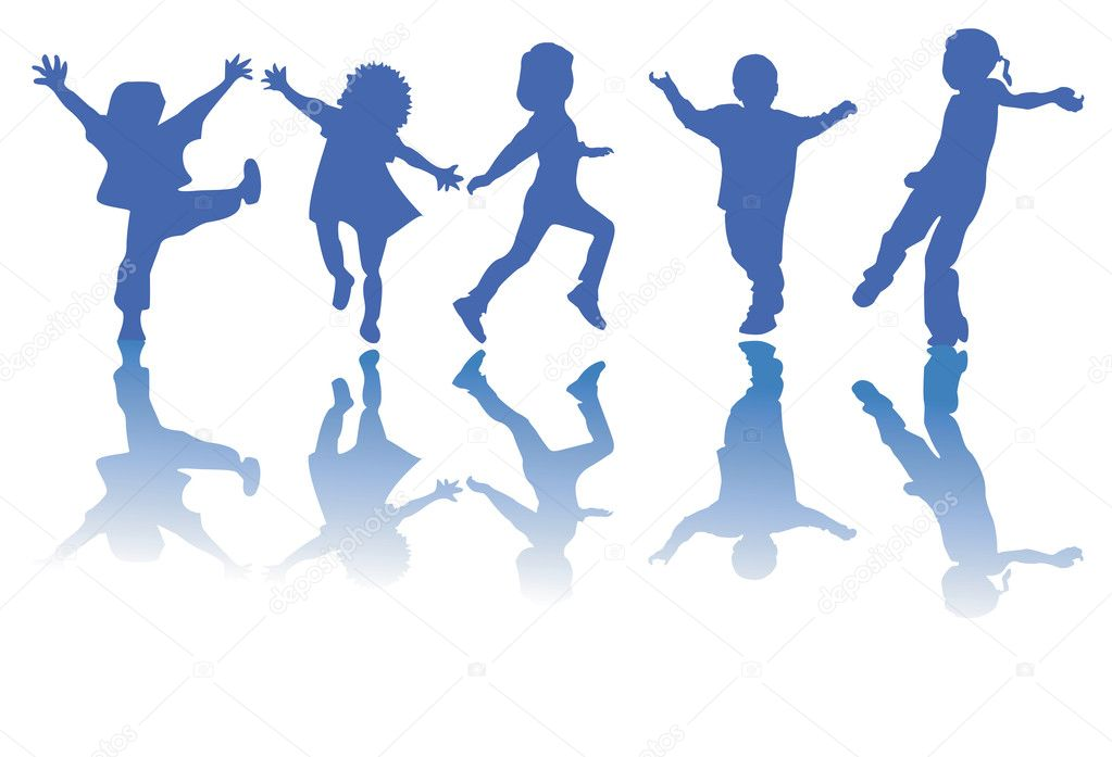 Happy children silhouette stock illustration